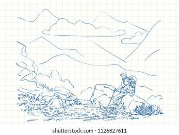 Female trekker with backpack sitting on big stone with mountain landscape on background, Blue pen sketch on square grid notebook page, Hand drawn vector linear illustration