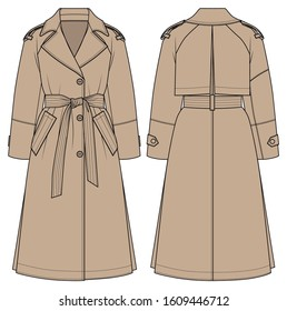Female trench coat. Vector sketch