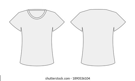 Female t-shirt line vector template. suitable for clothing and fashion design purposes