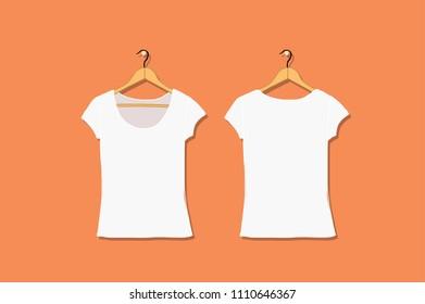 Female tshirt mockup white for your design. Vector illustration