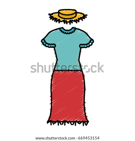 Female Typical Farmer Costume Icon Stock Vector Royalty Free