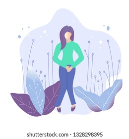 Female Urinary incontinence, cystitis, menopause concept illustration. Vector
