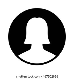 Female user account profile circle flat vector icon for apps and websites