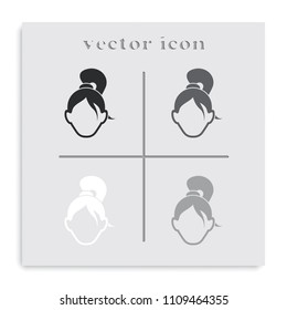 Female user account or user profile flat black and white vector icon.