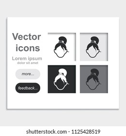 Female user account or user profile flat placed on web page template vector icon.