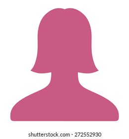 Female user account or user profile flat vector icon for apps and websites