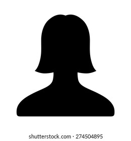Female user account or user profile flat icon for apps and websites