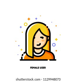 Female user avatar. Icon of attractive girl face. Flat filled outline style. Pixel perfect 64x64. Editable stroke
