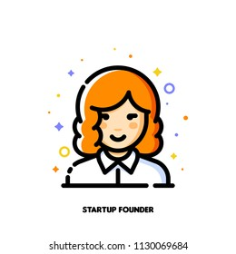 Female user avatar of startup founder. Icon of cute girl face. Flat filled outline style. Pixel perfect 64x64. Editable stroke