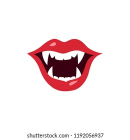 Female vampire red lips. Sexy vampire open mouth with fangs. Halloween vector illustration. Design elements for advertising and promotion. Isolated on white background.