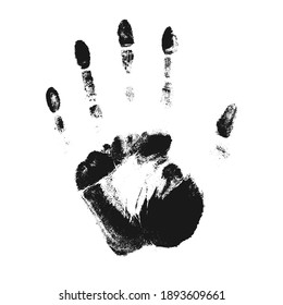Female vector palm imprint. Unique adult human left handed handprint isolated on white background. Graphic design element.