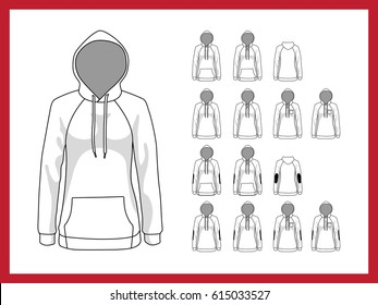 Female vector template sweatshirt with hood and raglan sleeves. Front and back view vector set templates