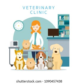 Female Veterinarian with Pets