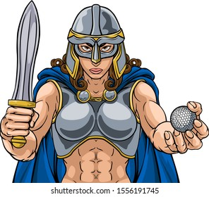 A female Viking, Trojan Spartan or Celtic warrior woman gladiator knight golf sports mascot