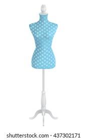 female vintage blue polka dot dressmakers tailors dummy mannequin