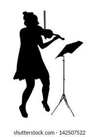 Female violinist vector