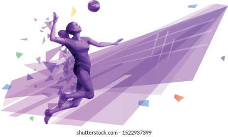 Female volleyball player on the attack