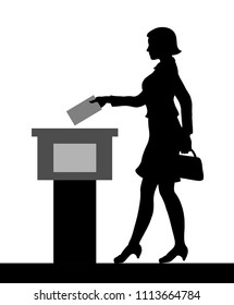 Female voter silhouette by voting for election. All the silhouette objects and background are in different layers.