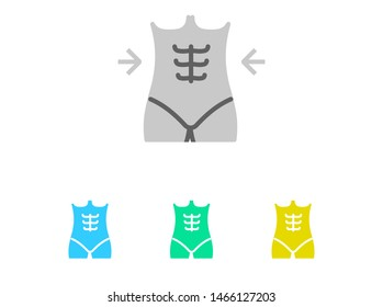 Female waist line, fitness and slim flat icon set, gym and exercising illustration for web and mobile apps, dieting and losing belly fat graphics