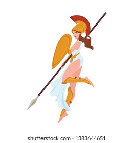 Female warrior, Greek goddess, Amazon or gladiator. Woman holding spear and shield isolated on white background. Beautiful maiden wearing helmet, mythological hero. Flat cartoon vector illustration.