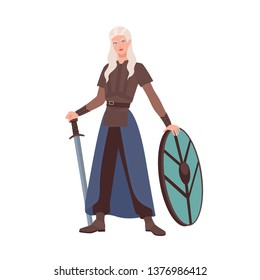 Female warrior or medieval knight holding sword and shield isolated on white background. Beautiful maiden with long blonde hair wearing armor from middle ages. Flat cartoon vector illustration.