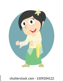 female wearing bali traditional clothes vector