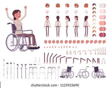 Female wheelchair user character creation set. Disability, medical social help. Full length, different views, emotions, gestures. Build own design. Cartoon flat style infographic illustration