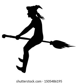 Female wizard rides on her broom silhouette vector, Halloween devil in black and white.