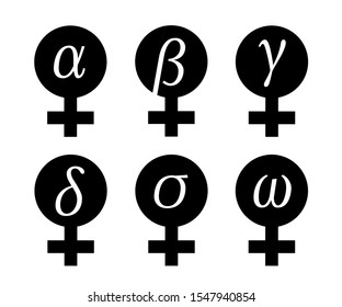 Female and woman categorization - alpha, beta, gamma, delta, sigma, omega. Dominant and superior woman vs submissive and inferior. Vector illustration of gender and sex symbol with greek alphabet.
