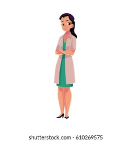 Female, woman doctor in white medical coat standing confidently with arms folded, crossed on breast, cartoon vector illustration isolated on white background. Full length portrait of female doctor