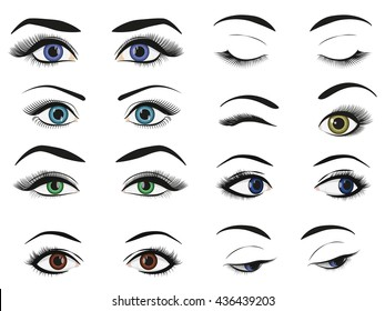 Female woman eyes and brows image collection set. Fashion moda girl eyes design.