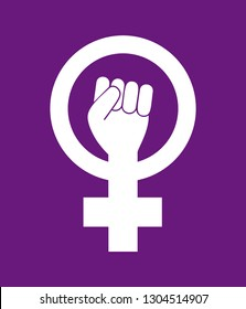 Female woman feminism resist symbol. Girl power white vector icon isolated on purple background. Fight like a girl