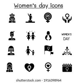 Female, woman, feminist, women's day icons set vector illustration graphic design