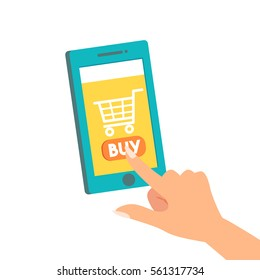 female woman hand finger pointing or press on buy button on the screen mobile shopping, online store on the smartphone concepts vector illustration flat modern style