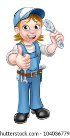 A female woman mechanic or plumber handyman cartoon character holding a spanner and giving a thumbs up