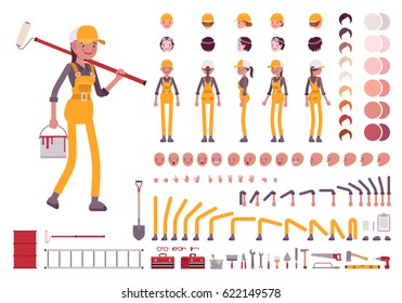 Female worker character creation set. Full length, different views, emotions, gestures, isolated against white background. Build your own design. Cartoon flat-style infographic illustration
