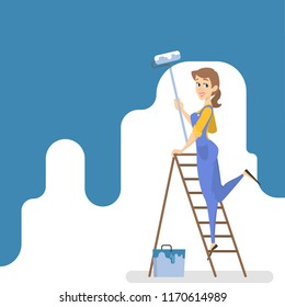 Female worker painting the wall with blue paint and roller. Smiling woman decorating room. Isolated vector illustration in cartoon style