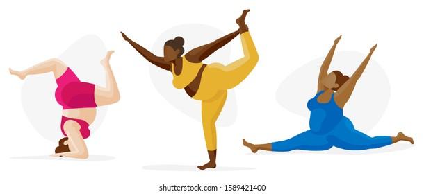 Female Yoga Icon Character Set - Self Care Multi Cultural, Body Type Inclusion, Diversity Concept