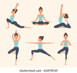Female yoga. Vector illustration of beautiful cartoon woman in various poses of yoga.