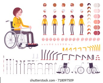 Female young wheelchair user character creation set. Full length, different views, emotions and gestures. Build your own design. Cartoon flat-style infographic illustration. Disability and people