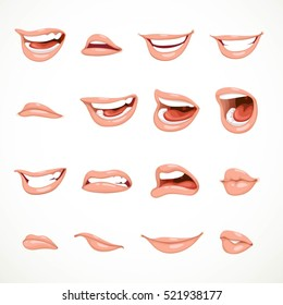 Female's mouth to express different emotional states objects isolated on white background