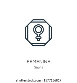 Femenine icon. Thin linear femenine outline icon isolated on white background from signs collection. Line vector sign, symbol for web and mobile