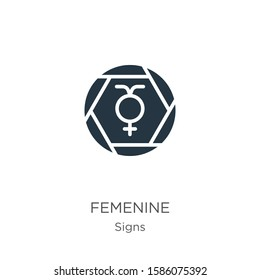 Femenine icon vector. Trendy flat femenine icon from signs collection isolated on white background. Vector illustration can be used for web and mobile graphic design, logo, eps10
