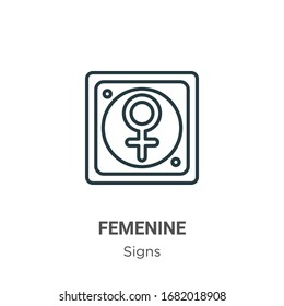 Femenine outline vector icon. Thin line black femenine icon, flat vector simple element illustration from editable signs concept isolated stroke on white background