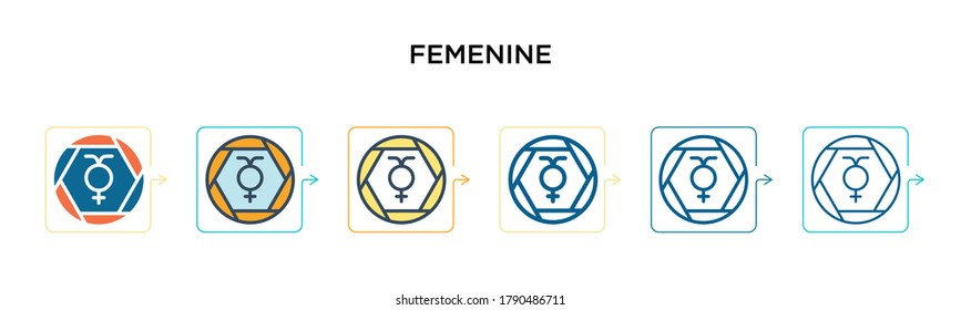 Femenine vector icon in 6 different modern styles. Black, two colored femenine icons designed in filled, outline, line and stroke style. Vector illustration can be used for web, mobile, ui