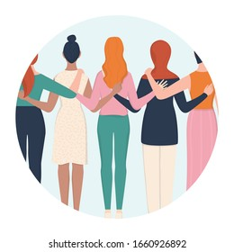 Femenism and girl power concept icon. Idea of gender equality and female movement. Women group hugging together. Female character support each other card or banner. Isolated vector illustration