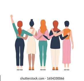 Femenism and girl power concept. Idea of gender equality and female movement. Women group hugging together. Female character support each other card or banner. Isolated vector illustration