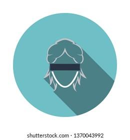 Femida head icon. Flat Design Circle With Long Shadow. Vector Illustration.
