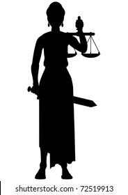 Femida (themis) silhouette - a goddess of justice
