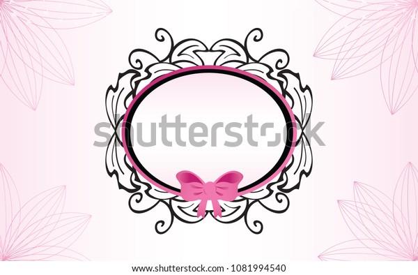 Feminine Baroque Frame with Pink Ribbon